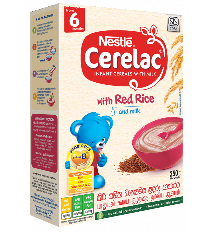 Nestle CERELACInfant Cereal with Milk with red Rice & Milk from 6 months 250g Bag In Box Pack