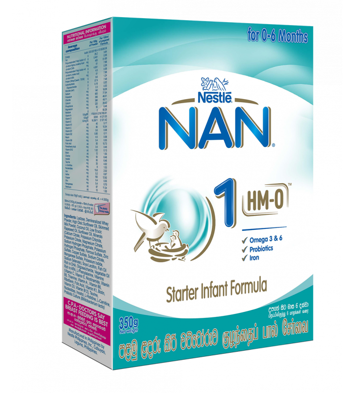 Nestle NAN 1 HMO Starter Infant Formula with Iron – Birth to 6 months, 350g Bag In Box Pack