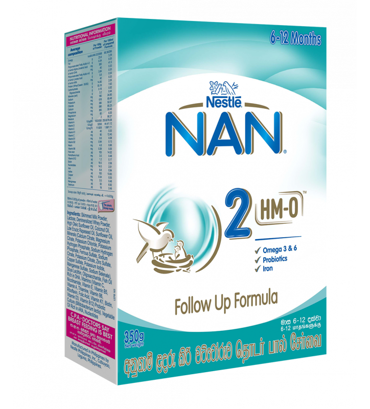 Nestle NAN 2 HMO Follow Up Formula with Iron -6-12 Months, 350g Bag In Box Pack